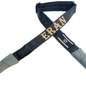 """רצועת דמוי עור- שחור בז´ דגם סמ""""פ"""